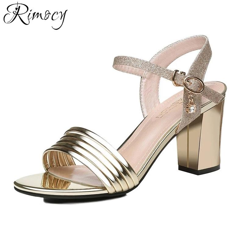 9784ce05add Wholesale Gold Silver Glitter Ankle Strap Sandals Women Fashion Thick High  Heels Open Toe Casual Summer Shoes Woman Elegant Pumps White Sandals Wedge  Heels ...