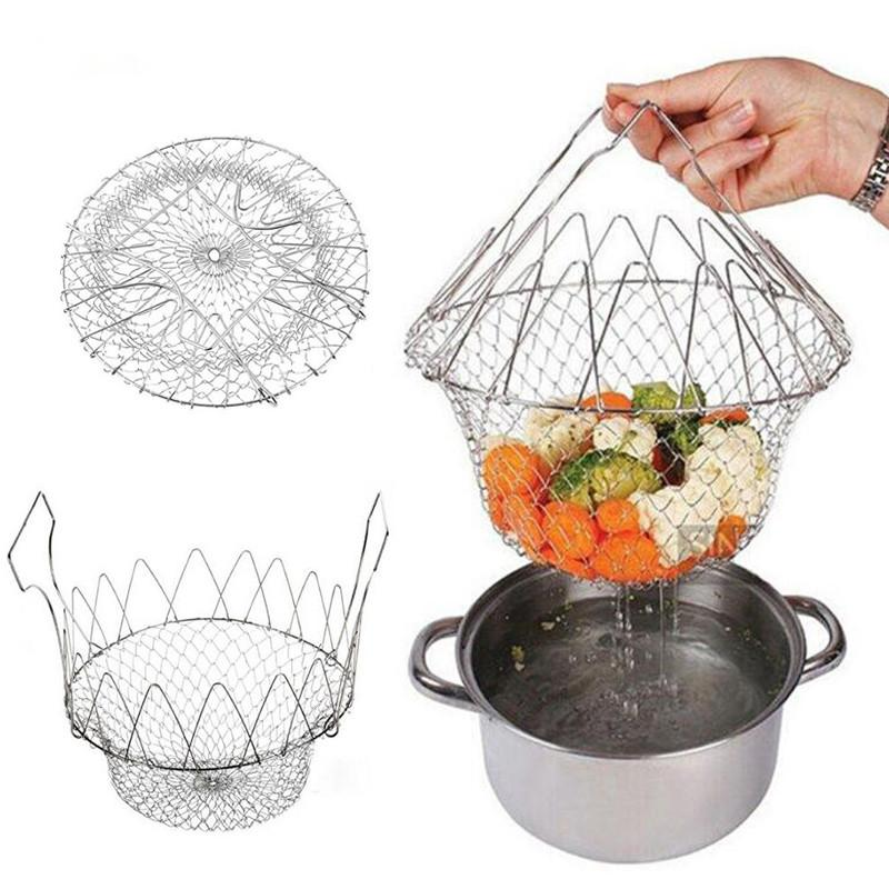 New Stainless Steel Expandable Foldable Fry Basket Kitchen Colander Magic Mesh Basket Strainer Net Cooking Steam Rinse Strain Basket