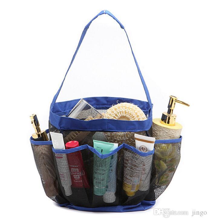 8 Pocket Mesh Shower Caddy Tote Wash Bag Dorm Bathroom Caddy Organizer with 8 Basket Pockets Storage Package