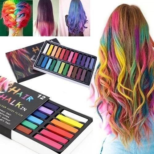 12 Colors Hair Dye Chalk Temporary Instant Hair Color Non-toxic Soft Pastel  Kit
