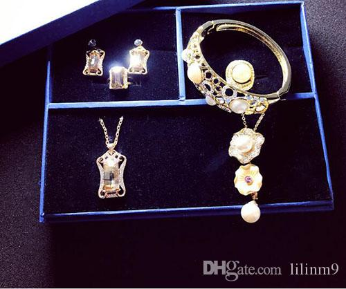 1f3cd2aab 2019 AAA High Quality 2018 New Designer Swarovski Crystal Necklace Earring  Bracelet Plated With Gold Plated Color Preserved Wedding Jewelry From  Lilinm9, ...