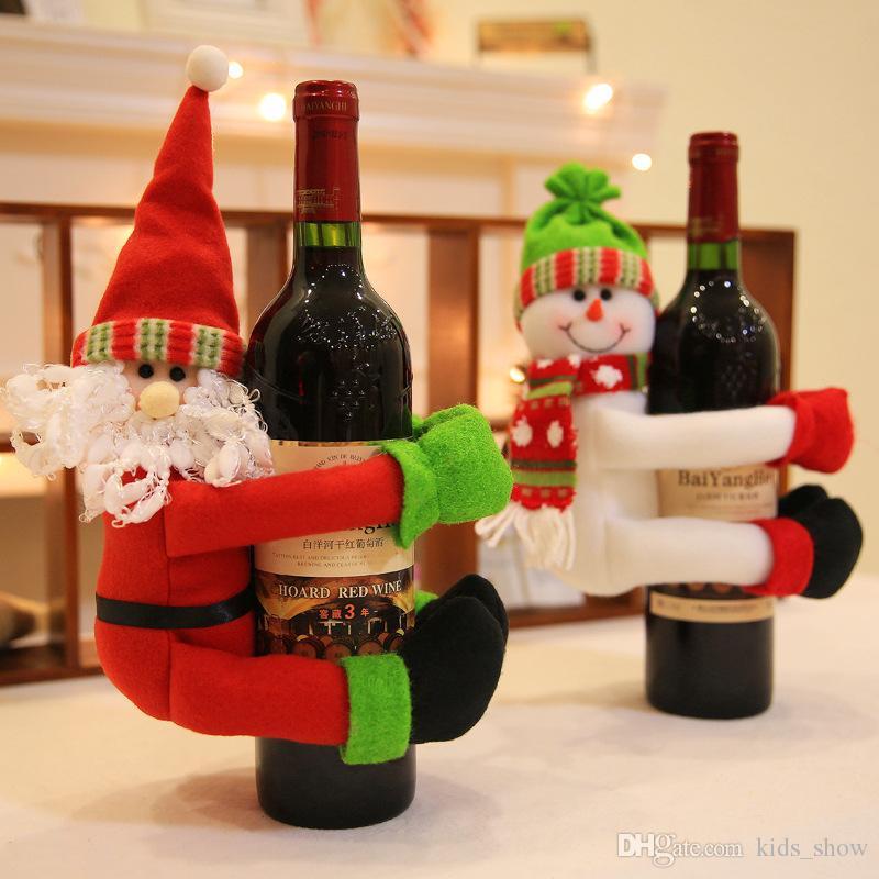Lovely Xmas Wine Bottle Holder Red Wine Bottle Cover Bags Hug Santa