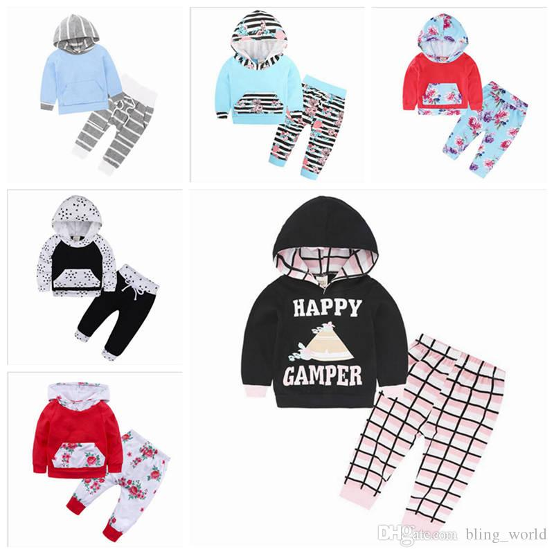 324016c42 2019 Baby Christmas Clothing Boy Striped Hoodie Set Girls Floral ...
