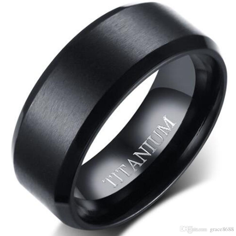 8mm Solid Pure Titanium Ring Band Size 7 15 Matte Black Wedding