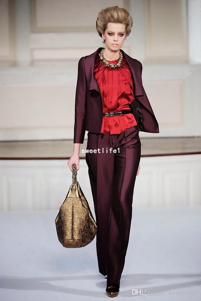 2018 Burgundy Two Piece Mother Of The Bide Suits Two Piece Jacket Pants Custom Made Mother's Formal Wear Prom Pant Suit Set