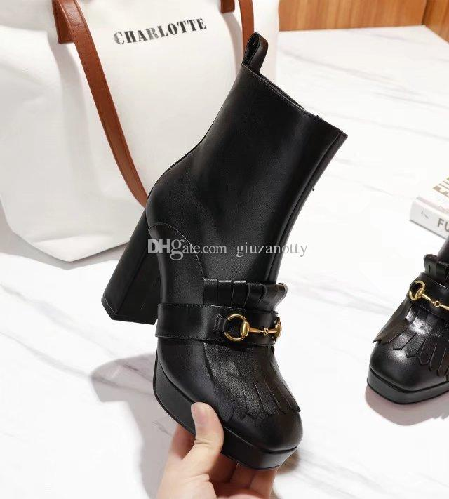 a9a18c2a582 Horsebit Tassel Boots High Platform Combat Boots for women High Chunky  heels Genuine leather Brand Fashion Evening Party Boots