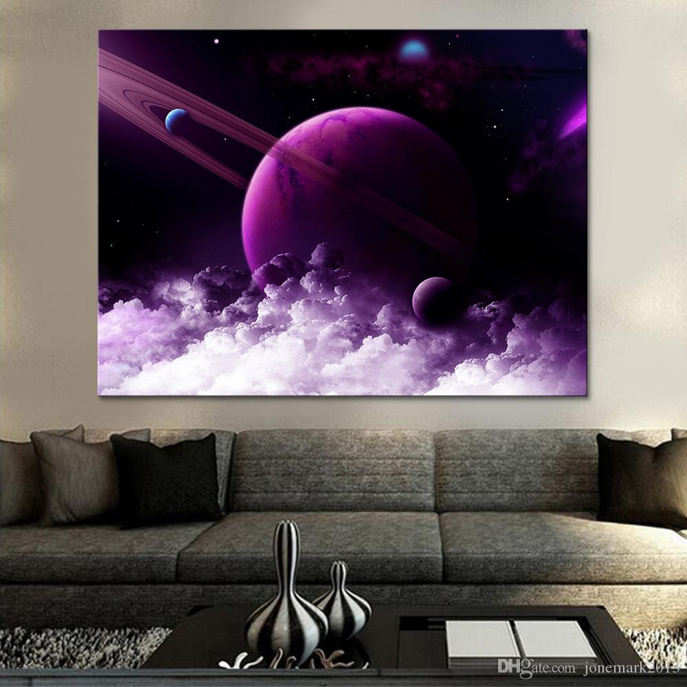 Canvas Pictures Living Room Wall Art 1 Piece Pcs Universe Space Abstract Painting Home Decor Hd Print Purple Planet Poster Frame