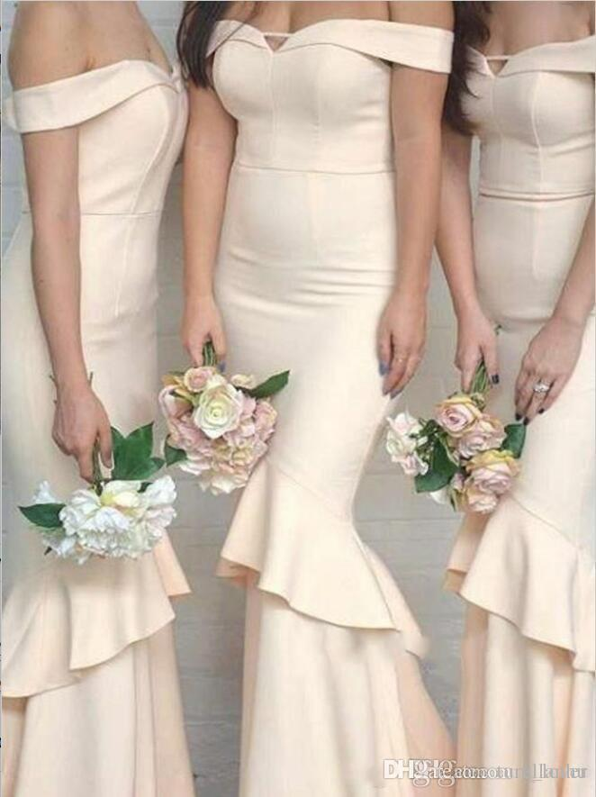 Cream 2018 New Long Mermaid Bridesmaid Dresses Simple Off Shoulder Cheap Ruffles Backless Wedding Guest Gowns for Evening Party Gowns