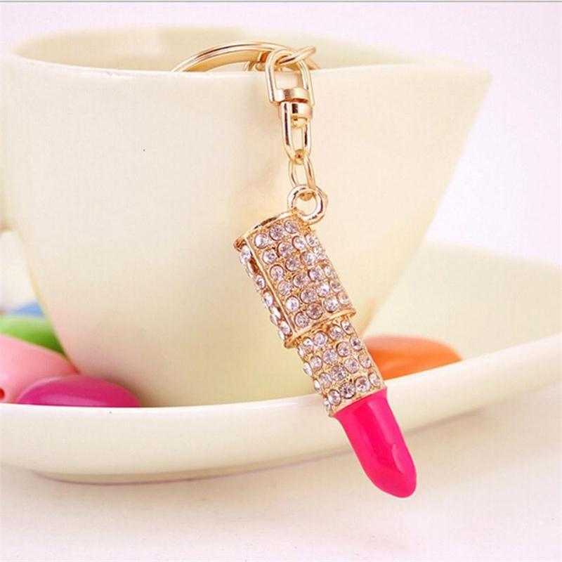 New Fashion Crystal Rhinestone Lipstick Keyring Golden Charm Pendant Bag Purse Car Key Chain Gift For Women