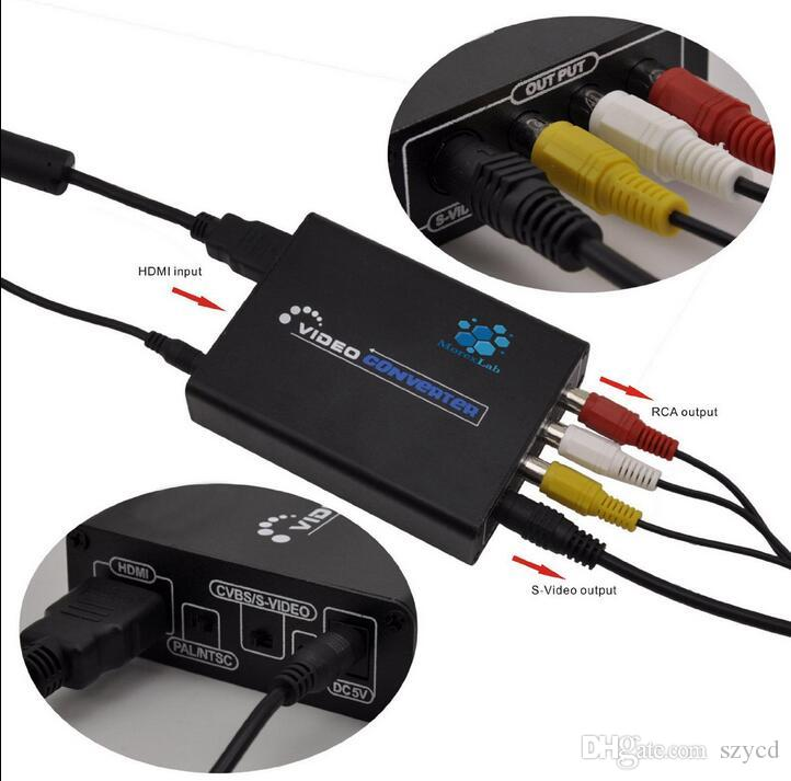 HDMI zu 3 RCA AV CVBS zusammengesetzter S-Video R / L Audio Konverter Adapter Upscaler DMI zu 3RCA AV