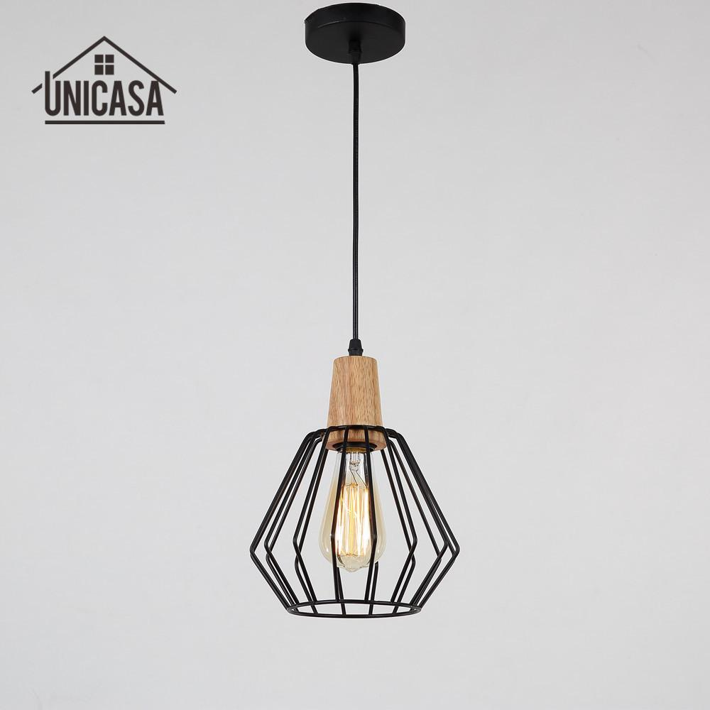 Wrought iron industrial lighting fixtures vintage wood kitchen island led lamp modern pendant lights retro pendant ceiling lamp