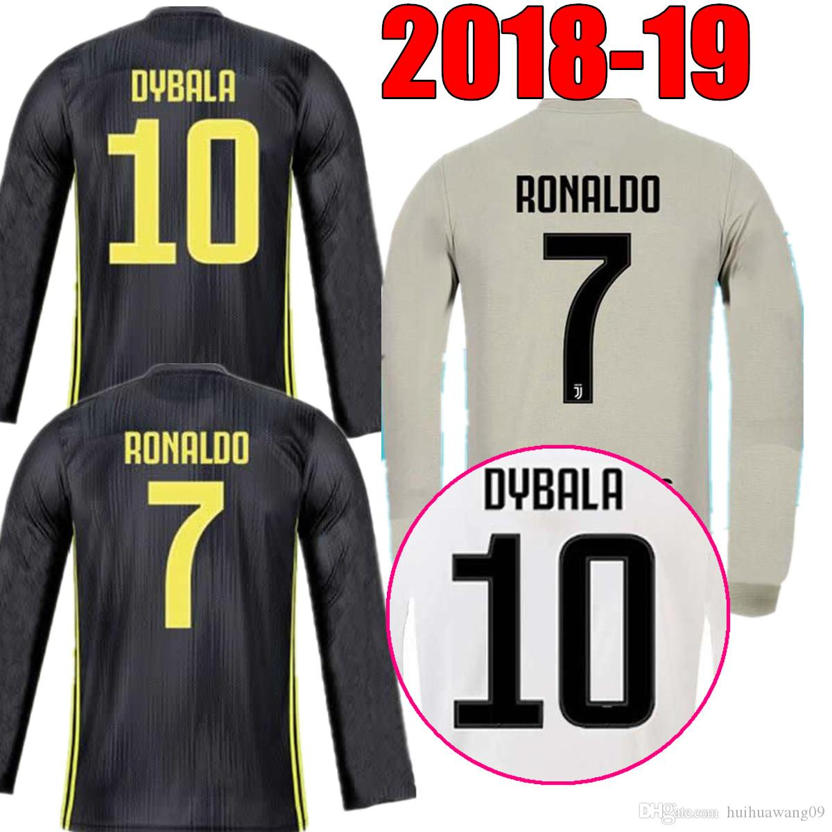 18 19 LONG SLEEVE AWAY 7 RONALDO JUVENTUS THIRD SOCCER JERSEYS ... 2412e73b0