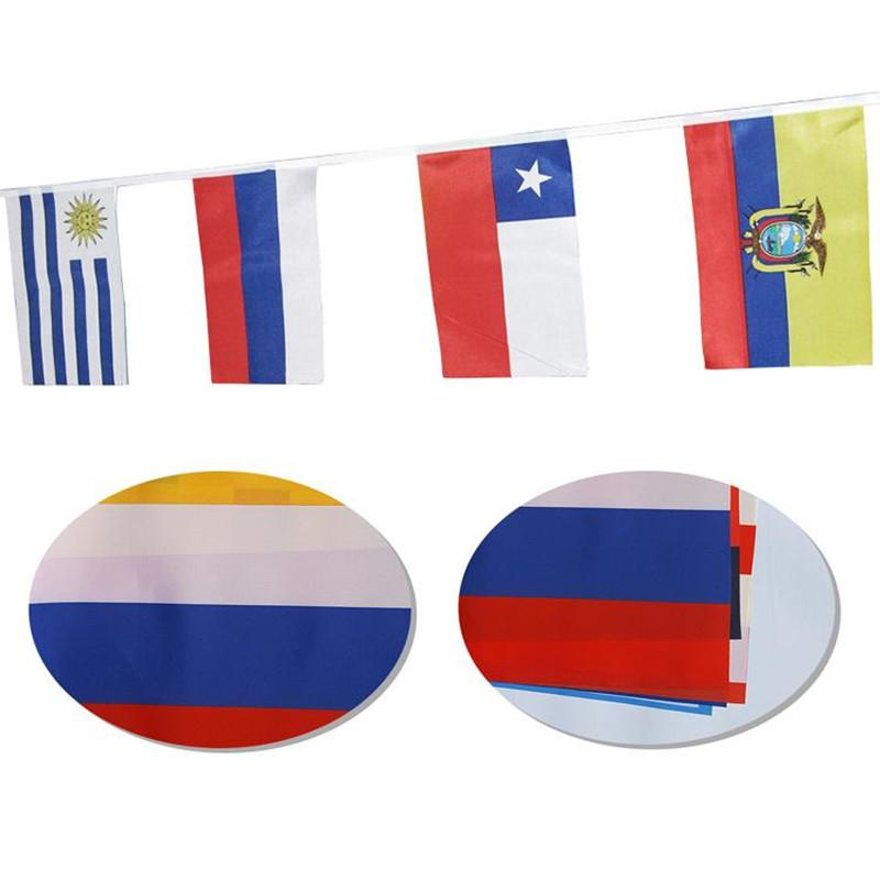 Hanging Flags Football Cup 2018 Coppa del mondo di Russia 14 * 21 cm Bandiera 32 Team Country Strings Bandiere Banner Bunting Bar Decorazione Indoor Indoor