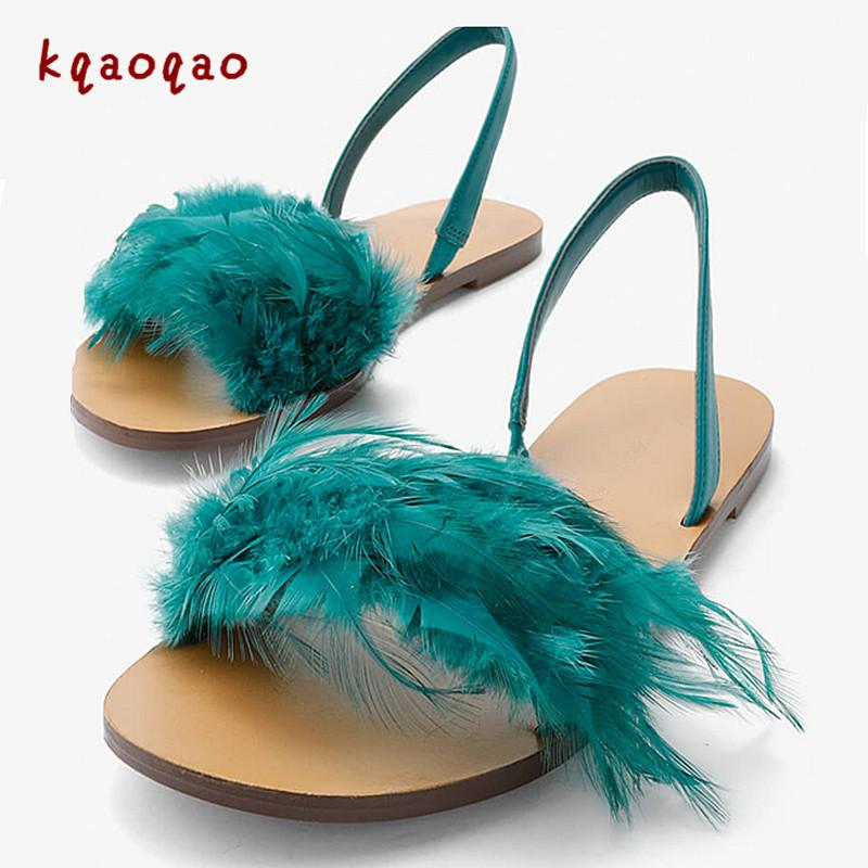 Luxury Feather Flats Gladiator Sandals Women Slippers Slip-on Dress  Sandalias Mujer 2018 Novel Brand Kqaoqao Sapato Feminino 40 Online with   220.32 Pair on ... b3505d53a54e