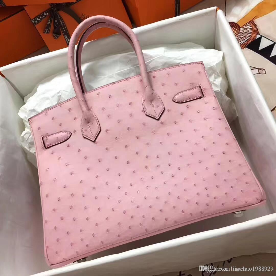 0c90fe02b9aa Women Fashion Totes Top Quality 100%handmade Classic Ladies Handbag Bags  Calfskin Genuine Leather Real Original Ostrich Leather Casual Bag Leather  Bags For ...