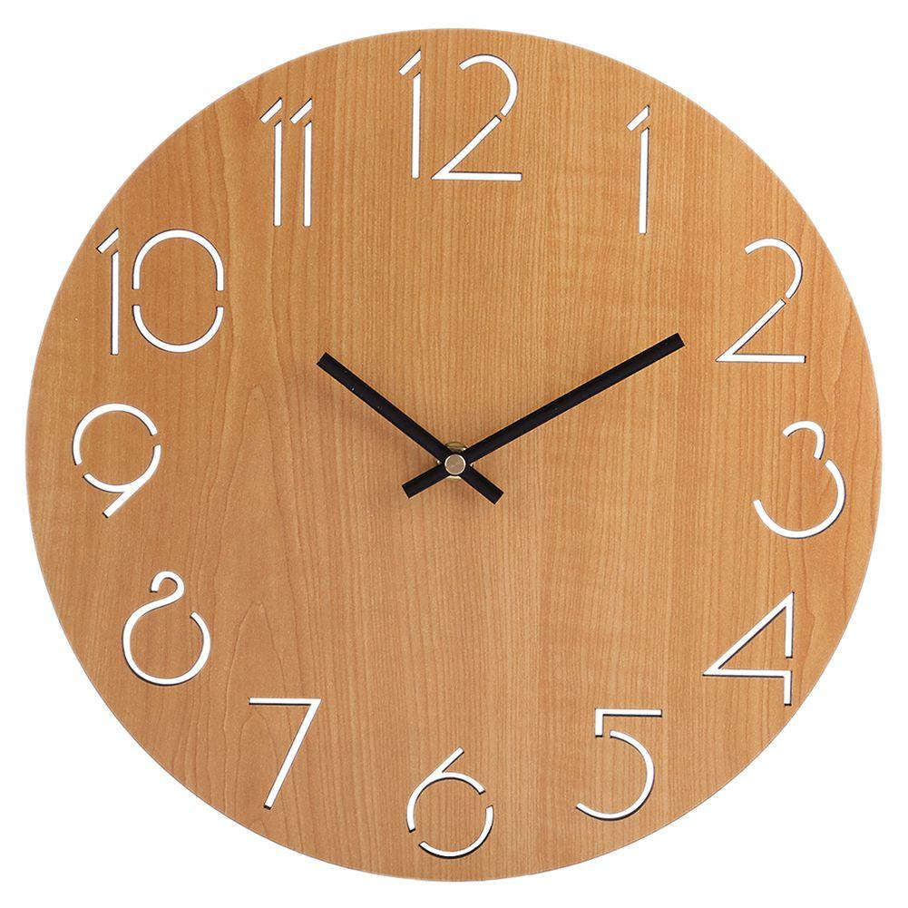 Hot sale creative wall clock living room minimalist modern home round personality silent solid wood fashionlight brown contemporary wall clocks contemporary