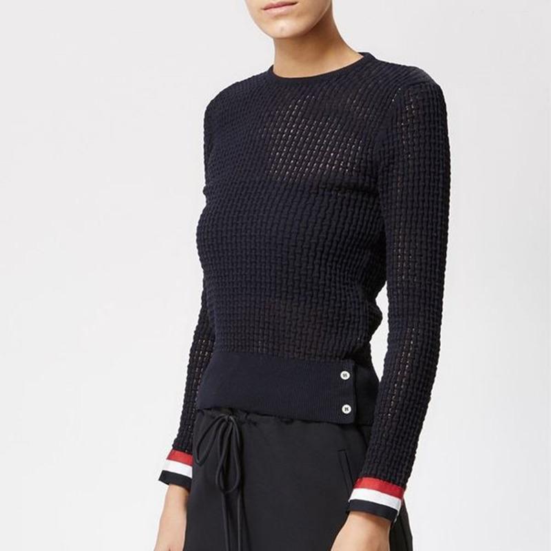 Compre Nueva Moda Para Mujeres Primavera Verano 2018 Diseño Cálido  Ocasional Femenina Suéteres De Punto Pullovers Suéter Señora A  45.75 Del  Beltloop ... b9e6b4684e71
