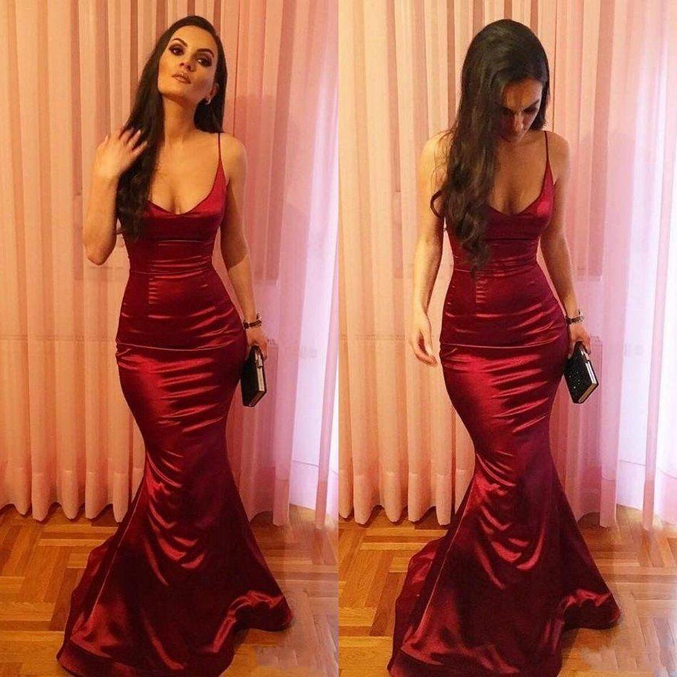Burgundy Simply Long Mermaid Prom Dresses 2018 Spaghetti Straps ...