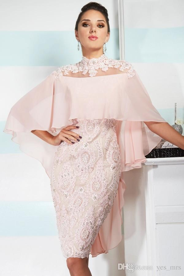 b1f0d9cfbdd67 2019 Pink Cocktail Dresses with Wraps Sheer Back High Neck Lace Sheath Knee  Length Prom Dresses with Beaded Appliques Mother Of Bride Dress Cocktail  Dresses ...