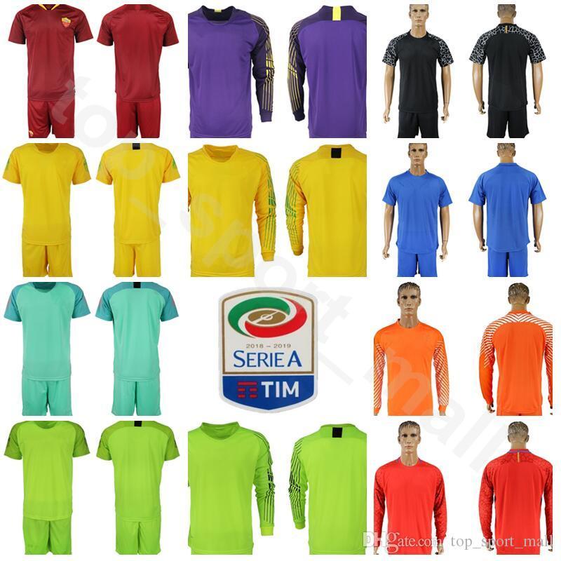 best sneakers 52007 5a170 FC Goalkeeper Serie A AS Roma Long Sleeve Jersey Set Men Soccer 1 Robin  Olsen 83 Antonio Mirante 1 ALISSON Football Shirt Kits