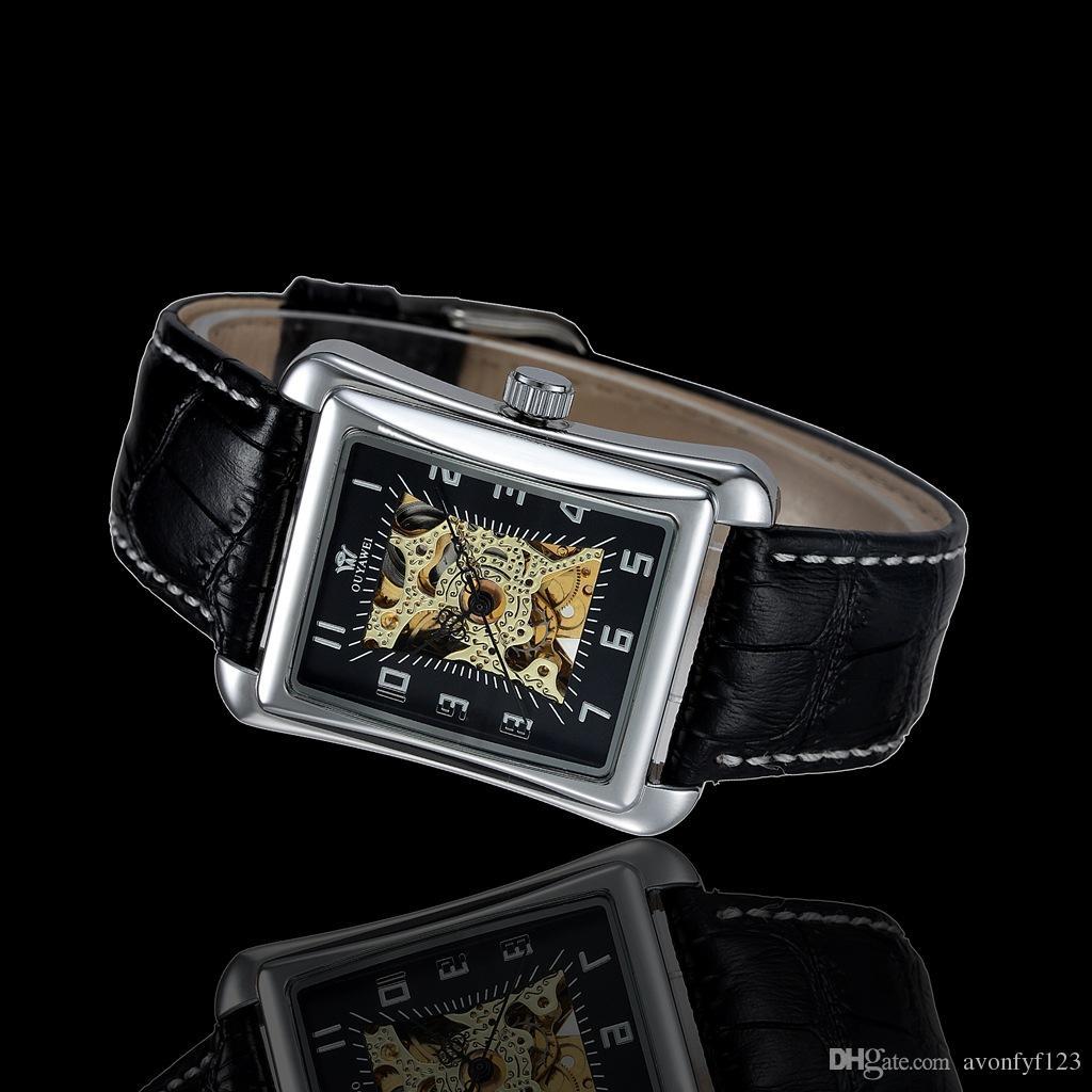 Ouyawei design quadrado relógio mecânico para o homem relógio de couro das mulheres relógio de negócios casuais automático oco numberals pulso a304