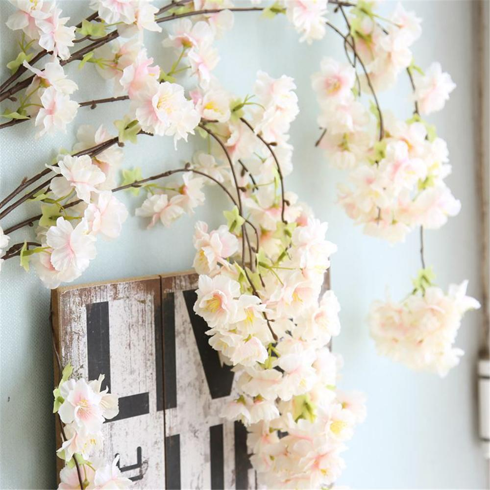 LIN MAN 135cm Long Branch Artificial Cherry Sukura Wisteria Flower String Simulation Wedding Arch Square Rattan Wall Hanging Flower