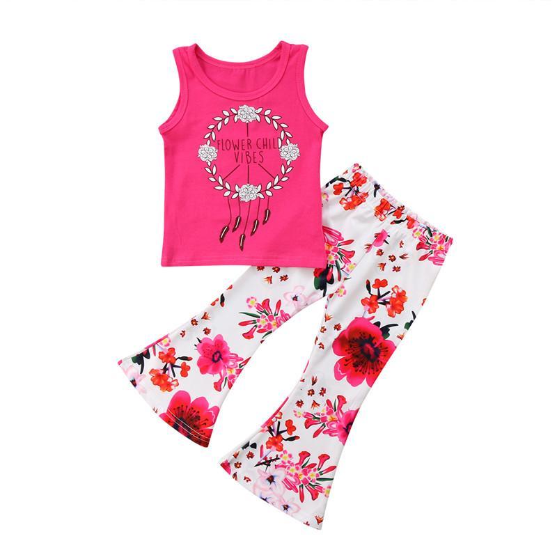 24c8d1d0af63 2019 Summer Casual Toddler Kids Baby Girls Clothing Set Vest Tee ...