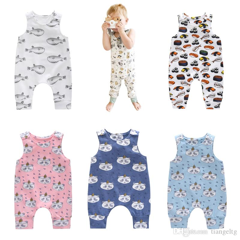 0ddca001b 2019 Baby Print Rompers 81 Designs Boy Girls Alpaca Unicorn Dinosaur ...