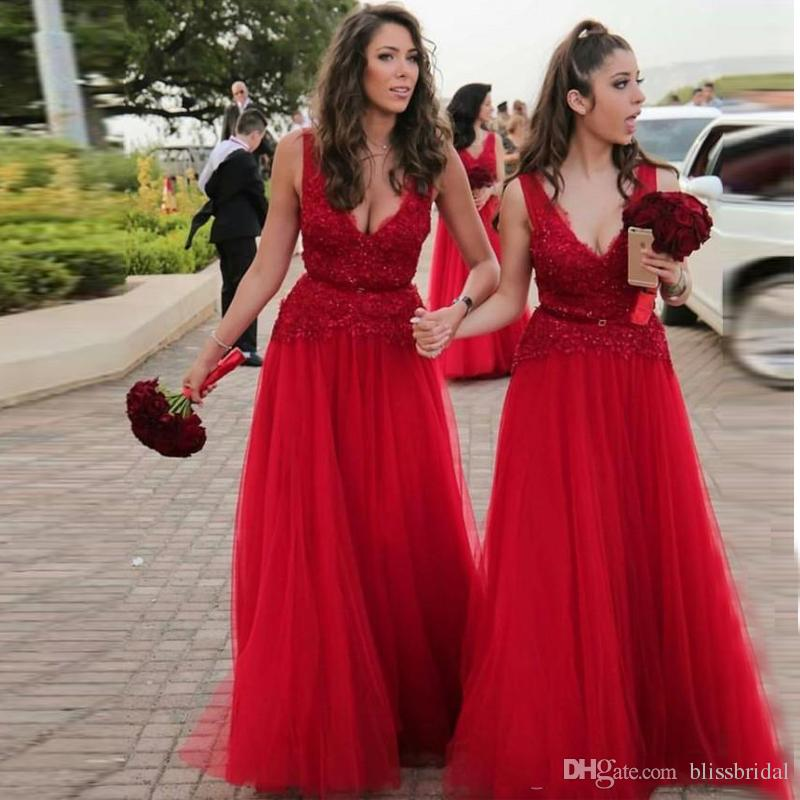 8c2476aa6e214 2019 Sexy Deep V Neck Red Bridesmaid Dresses A Line Lace Sequins Sleeveless Wedding  Guest Dress Custom Made Prom Gowns Modest Bridesmaid Dresses Under 100 ...