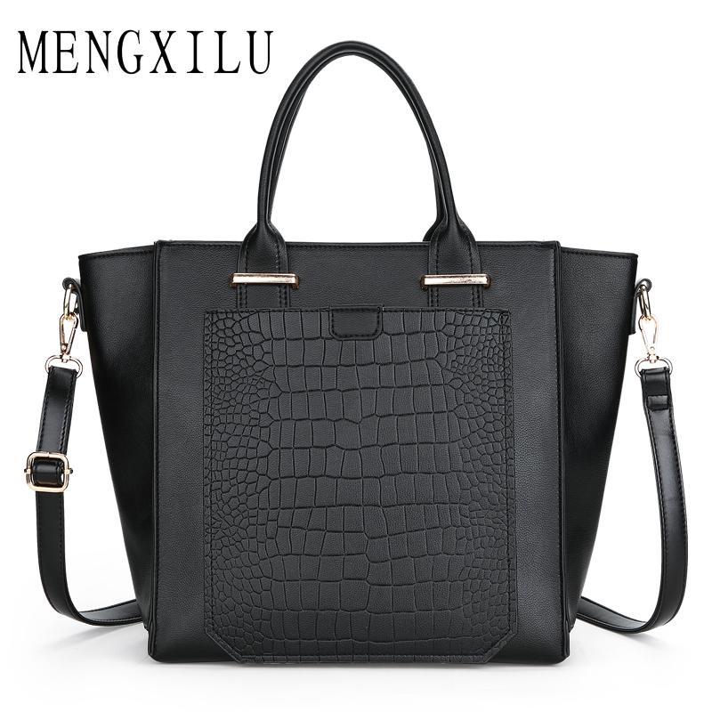 dec469437f MENGXILU Women Genuine Leather Handbags Women Luxury Stone Shoulder