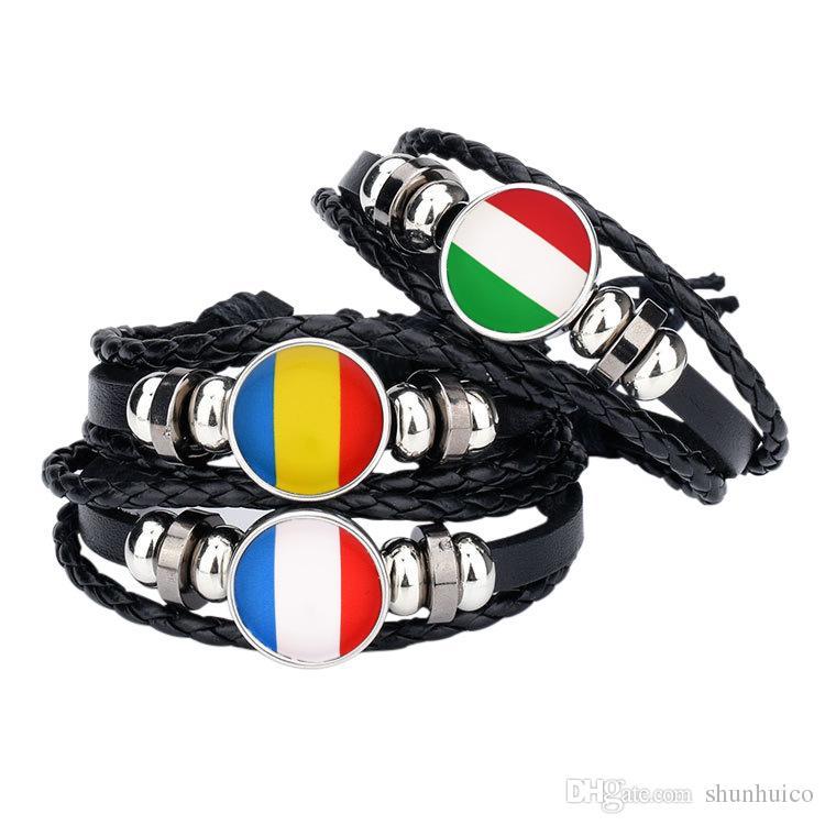 Regalo de la pulsera de los deportes para los fanáticos de fútbol de la taza del mundo brazalete del deporte de la bandera nacional para la mujer del hombre envío libre por DHL