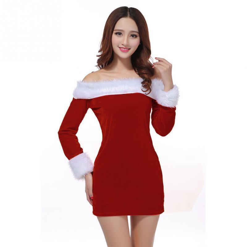 bd3891523d02a Satın Al Noel Uzun Kollu Mini Elbise Bayan Kürk Slash Boyun Kış Elbiseler  Kazak Kadınlar Seksi Kapalı Omuz Fırfır Bodycon Elbise, $27.9    DHgate.Com'da