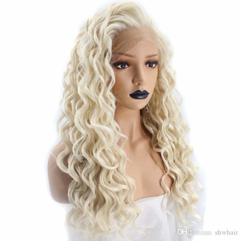 Kinky Curly Platinum Blonde Lace Front Perucke Synthetisches Haar Lange Spirale Locken Naturliche Haaransatz Synthetische Lacefront Perucken Fur