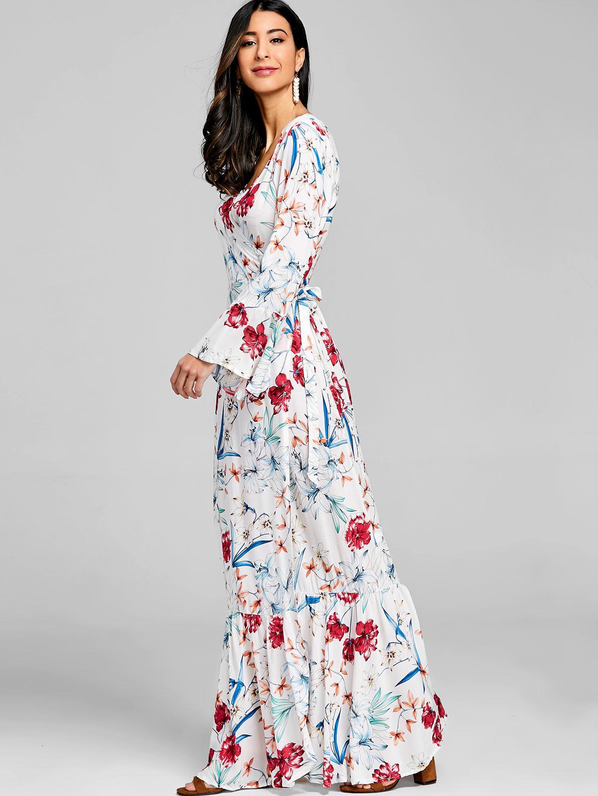 5f9d8225a Vestido estampado con manga larga y estampado floral Vestido bohemio con  vestidos y vestidos de fiesta de verano Vestidos 2018 con volantes