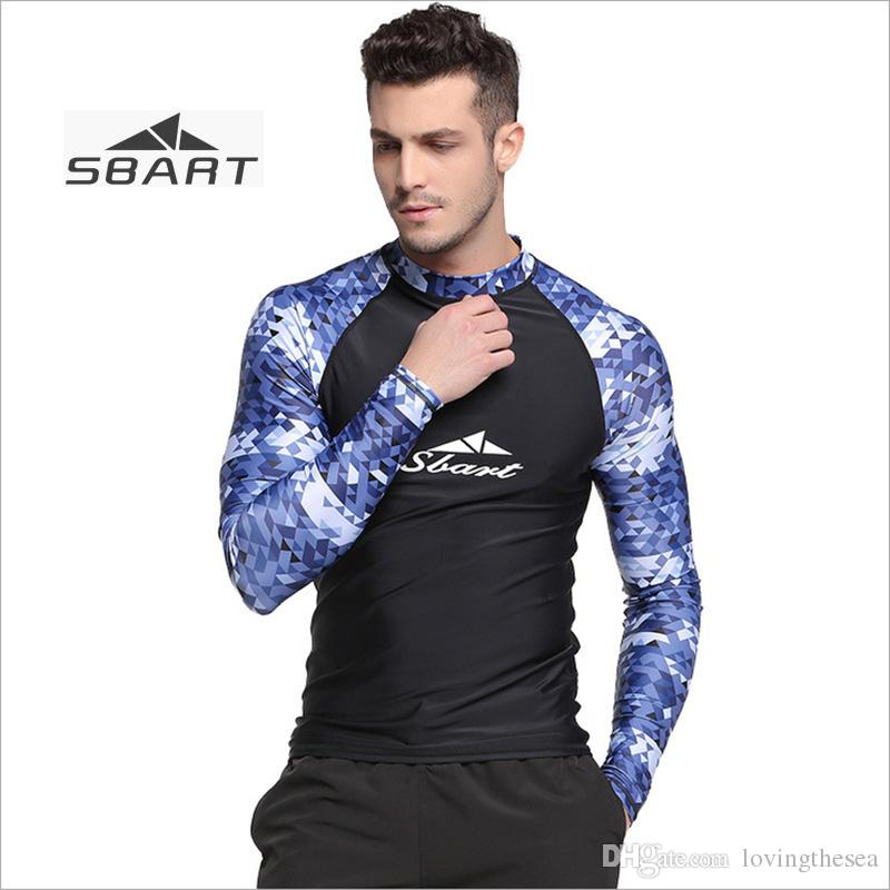 6aea1678e63a 2019 Sbart Men Swimwear Tops Swimming Shirt Camouflage Lycra Diving Suit Sun  Protection Rash Guard For Snorkeling Surfing Swimming From Lovingthesea