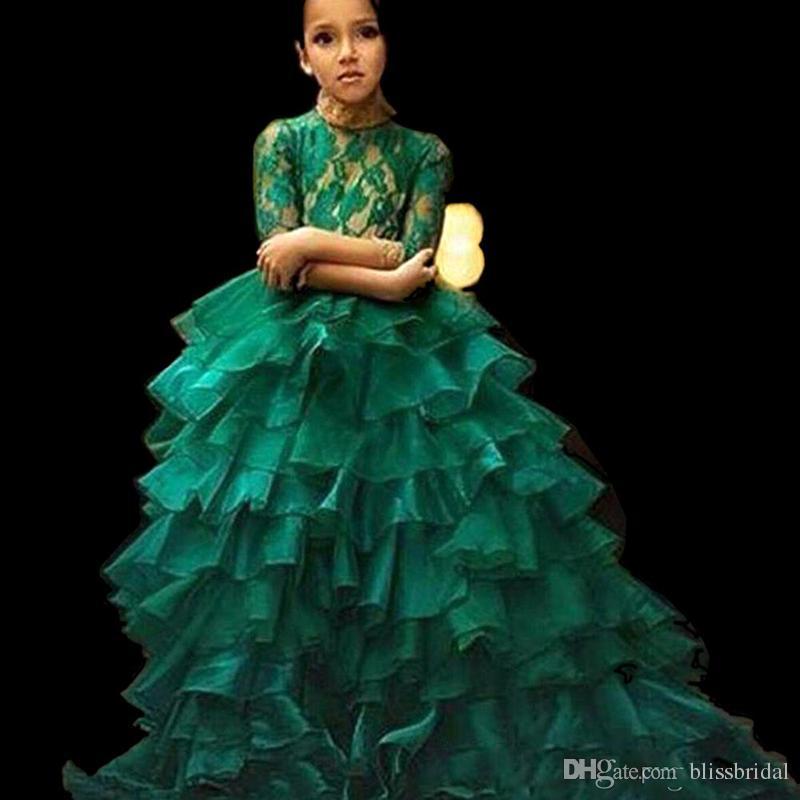 New lace verde corpete babados ruched flor menina dress mangas meia até o chão crianças vestidos de comunhão vestidos de baile 0-12 anos de idade