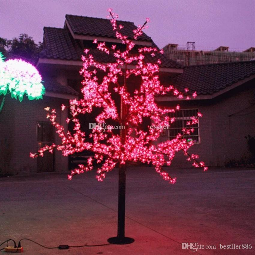LED Artificial Cherry Blossom Tree Light Christmas Light LED Bulbs 2m/6.5ft Height 110/220VAC Rainproof Outdoor Use