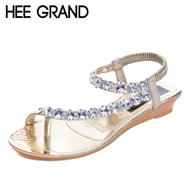71df98169 HEE GRAND Women Summer Sandals Blingbling Crystal Platform Wedges Shoes  Woman Golden Sliver Slip On Flip Flops Size 35 40 XWZ791 Womens Sandals  Sandals For ...