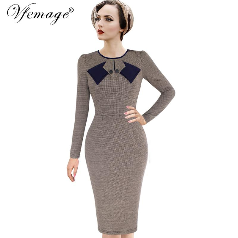 ca64acdfdaa94 Vfemage Womens Elegant 1950s Vintage Pinup Rockabilly Patchwork Long Sleeve  Work Party Sheath Bodycon Wiggle Dress 8167