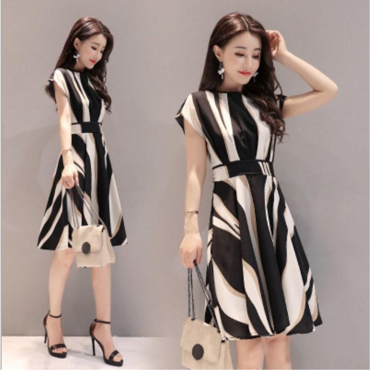 3003aa98c7cb Women Casual Silk Dress Summer OL Style Korean Knee Length Dress Short  Sleeve High Waist Elegant Office Lady Belt Vestidos Going Out Dresses  Summer Dress ...