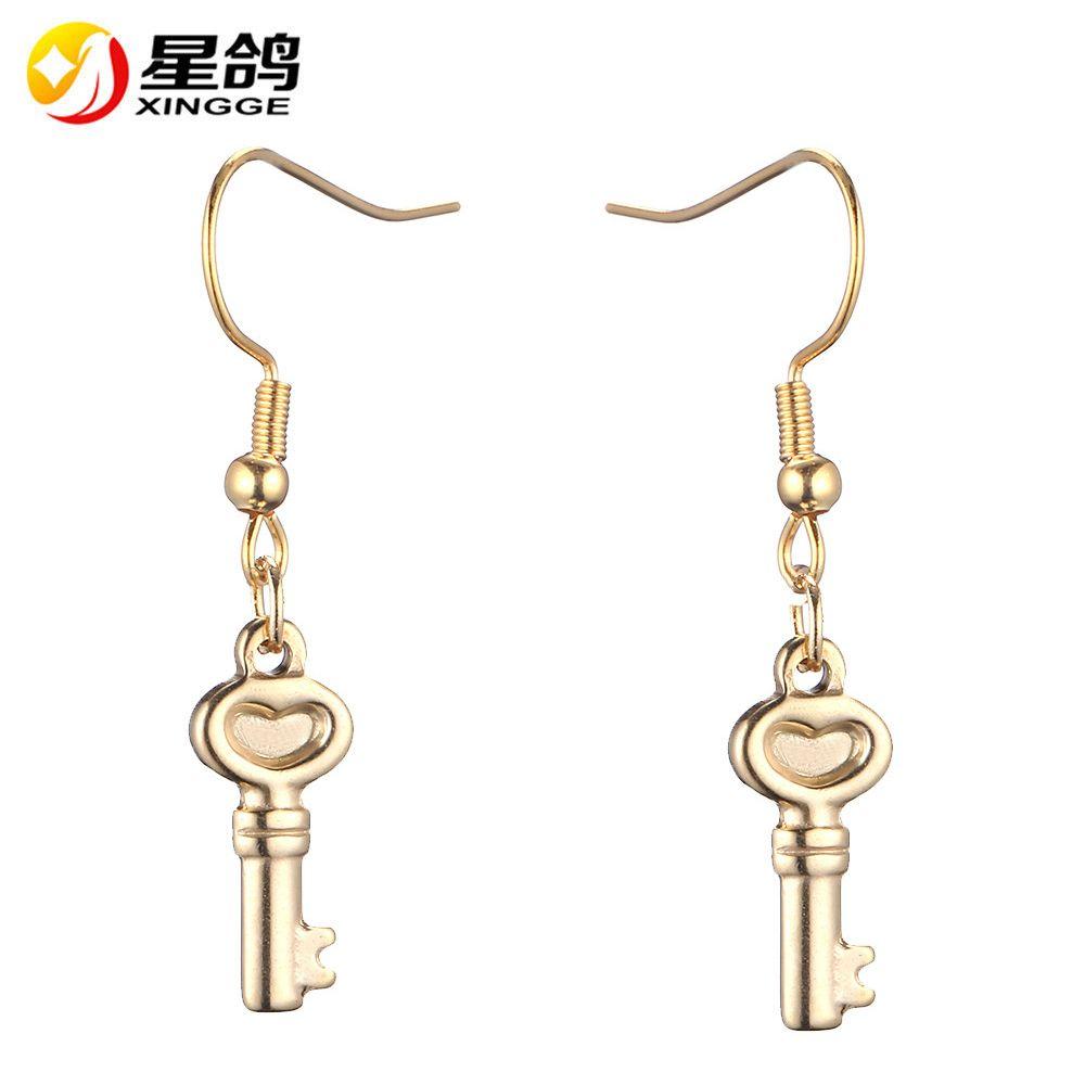 silver/gold color Key Drop Earrings European Style Jewellery stainless steel Key Earings Cute Romantic Gift for Women Office Ladies