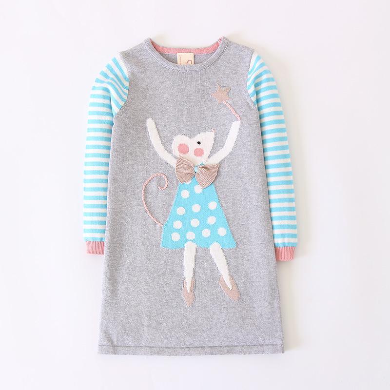d644a1c44 Compre Vestido De Suéter De Dibujos Animados Manga Larga Nuevo Diseño Niñas  Tejidas Vestido De Lana Suéteres De Rayas Para Bebés