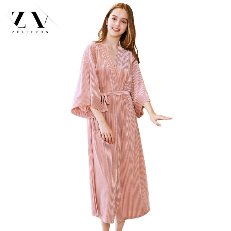 3630355a3f189 2019 Gold Velvet Robe Long Section Women Home Suit Female Ankle Length  Velour Lingerie Thin Section Women S Dressing Gown From Erzhang