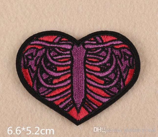 Red Purple Love Heart Embroidered Patches For Sewing Bag Clothing