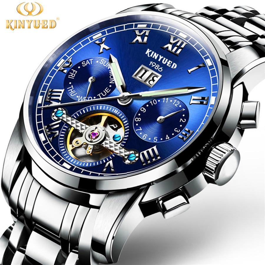 1c4391d52 Compre KINYUED Top Marca De Luxo Clássico Relógios Dos Homens Mecânicos  Relógio De Pulso De Aço Inoxidável Safira Gentleman Assista Moda Homem  Relógio De ...