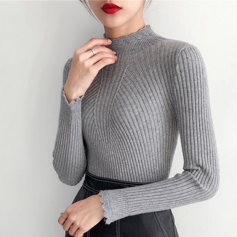fabf79b12a28d Compre Jersey Mujer Invierno 2018 Mujeres Gruesas Suéter Y Jerseys Cuello  Alto Manga Larga Ahueca Hacia Fuera Sólido Sueter Mujer Pull Femme  S18100801 A ...