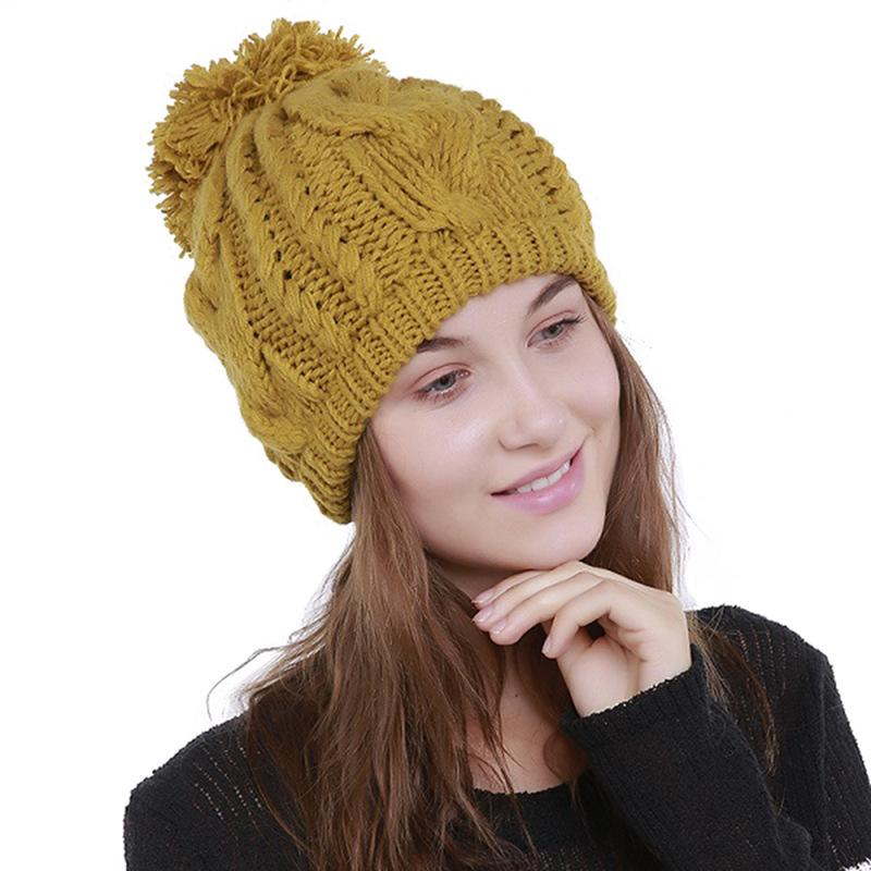 Pure Hand Woven Thick Caps For Women Men Cap Winter Beanies Warm Wool Ball  Cap Skullies Knitted Girls Fashion Cute Hats Trilby Mens Hats From  Clintcapela 8d0be0e53de