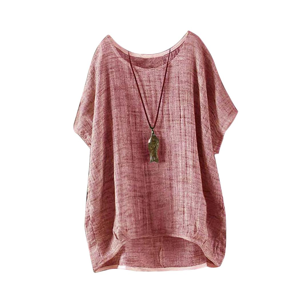 271e90410ed 2019 Vintage Women Summer Batwing Linen Tops And Blouse Plus Size Short  Sleeve 2018 Casual O Neck Loose Shirts Solid Color BlusasTees From  Shoppingparty, ...