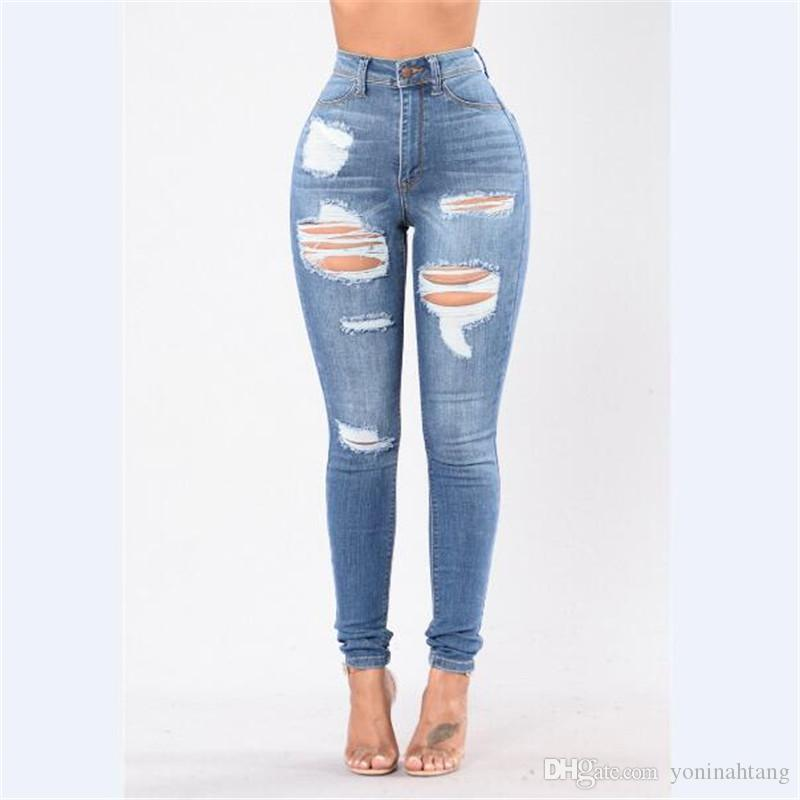 2d011abfa76 Wholesale Women Destroyed Ripped Distressed Denim Pants Jeans High ...