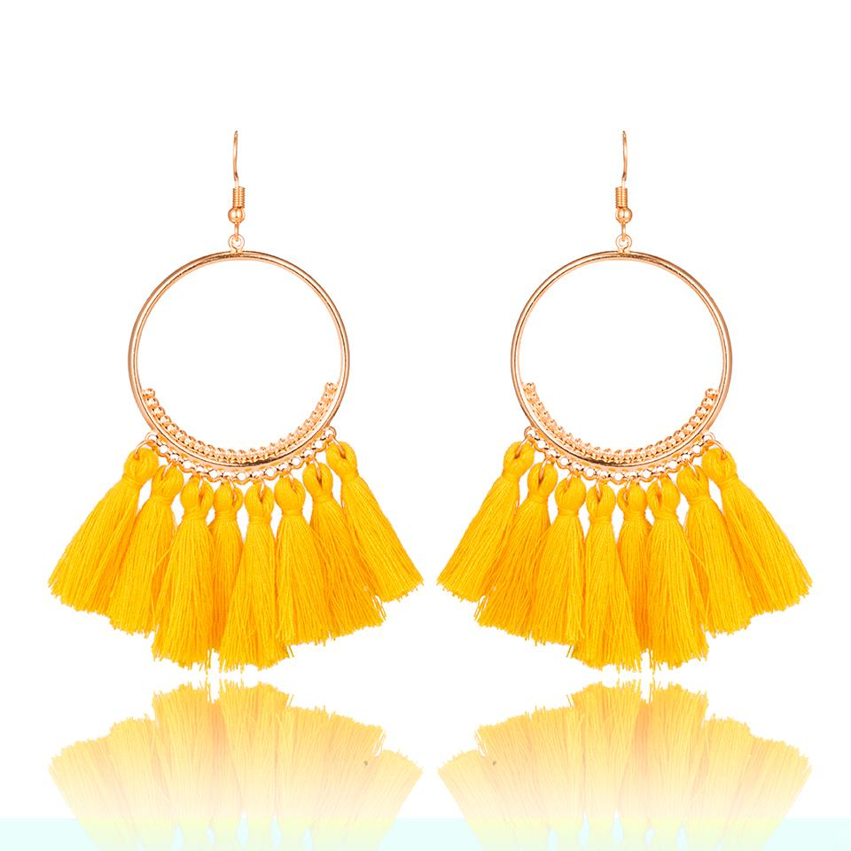 2018 Fashion Bohemian Ethnic Fringed Tassel Earrings for Women Golden Round  Circle Ring Dangle Hanging Drop Earrings Jewelry Online with  1.06 Pair on  ... d56d5bb094ce